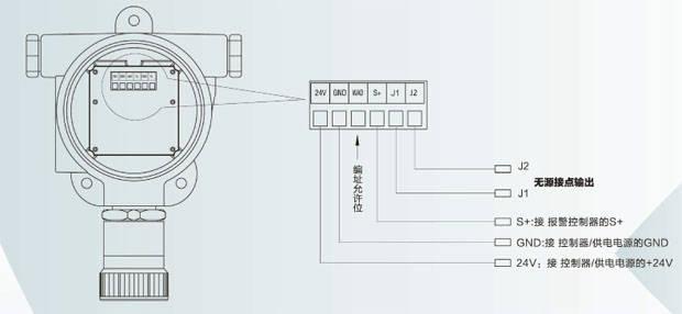 sfjex-07a可燃气体探测器端子说明及接线